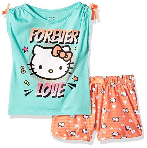 Hello Kitty Little Girls' Short Set with Embellished Fashion Top, Mint, 4