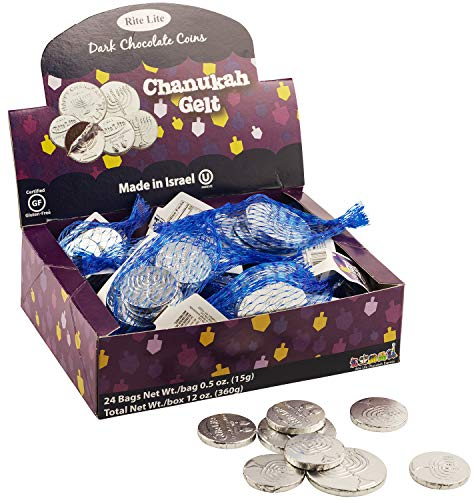 Rite Lite Chanukah Gelt Chocolate Large Coins - 24 Bags In a Display Box - .5 Ounces of Chocolate Extra Large Coins, 1 Extra Large and 3 Small Coins Pack of 24 Hanukkah (Non Dairy)