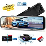 PORMIDO 12 inch Mirror Dash Cam with Split Front Camera 360°,Anti Glare Touch Screen Full HD 1920P,Car Rear View Backup Camera Dual Lens Sony,Super Night Vision,Parking Monitoring