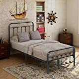Victorian Vintage Style Platform Metal Bed Frame Foundation Headboard Footboard Heavy Duty Steel Slabs Queen Size Silver/Gray Textured Charcoal Finish (Black/Silver, Twin)