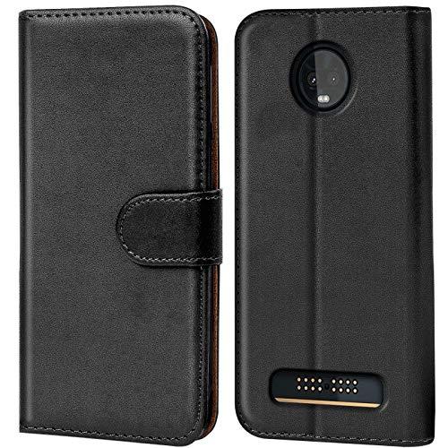 Verco Moto Z3 Play Hülle, Handyhülle für Motorola Moto Z3 Play Tasche PU Leder Flip Hülle Brieftasche - Schwarz