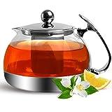 Teekanne Glas mit Siebeinsatz 1200ml herausnehmbaren Edelstahl Filter Sieb Teesieb
