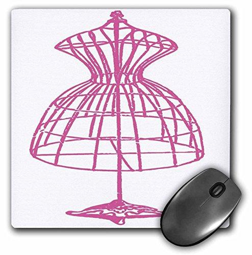 3dRose Florene Decorative - Pink Dress Form - Mousepad (mp_35418_1)