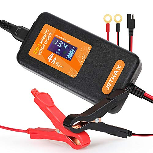 For Sale! Jethax 12V 4A Smart Car Battery Charger, Fully Automatic 3-in-1 Portable Battery Maintaine...