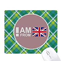 イギリス出身です 緑の格子のピクセルゴムのマウスパッド