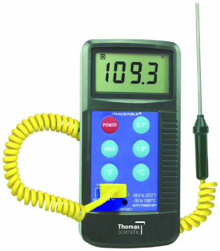Thomas - 4425 Traceable Workhorse Thermometer, Type K Thermocouple, -58 to 2372 Degree F, -50 to 1300 Degree C, Probe Range (Supplied with Unit) -45 to 230 Degree C, Accepts All Type K Probes