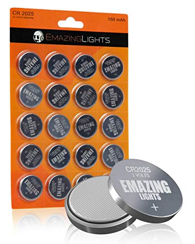 EmazingLights CR2025 Battery 3 Volt Lithium Coin Cell 3V Button Batteries (20 Pack)