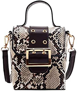 TOOGOO Small Snake Print Flap Shoulder Bag Female PU Leather Chain Crossbody Bags for Women Yellow