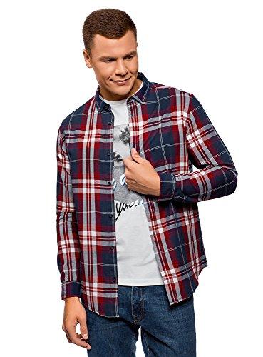 oodji Ultra Herren Karo-Hemd aus Baumwolle, Blau, Herstellergröße 44 (Kragenweite 44 cm)/ DE 56 / XL