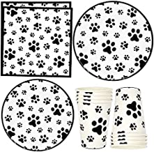"""Dog Paw Prints Party Supplies Tableware Set 24 9"""" Paper Plates 24 7"""" Plate 24 9 Oz Cups 50 Luncheon Napkins for Dalmatian ..."""