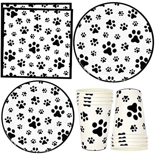Dog Paw Prints Party Supplies Tableware Set 24 9' Paper Plates 24 7' Plate 24 9 Oz Cups 50 Luncheon Napkins for Dalmatian Dogs Animal Puppy Paws Print Birthday Party Disposable Dinnerware Decorations