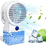 Jeenone Portable Air Conditioner Fan, 4 in 1 Ultra-Quiet Mini Evaporative Air Cooler Personal Air Conditioner Portable AC Fan with Timing, 7 Colors Light, 3 Speeds Desk Fan for Home Office