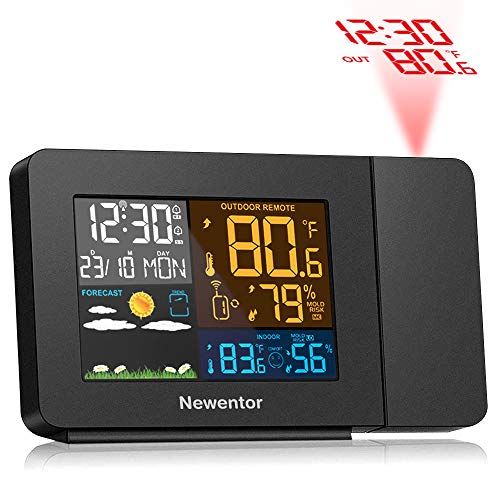 Newentor Projection Alarm Clock with Weather Station for Bedrooms, Projector Clocks with WWVB Function, Wireless Indoor Outdoor Thermometer Temperature Humidity Monitor Gauge Hygrometer with Calendar