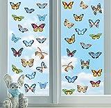 ANHUIB 37 Pcs Adesivi Murali Colorato Farfalle, Adesivo per Finestra Farfalla,Camera per Bambini Adesivi Murali Farfalle,Arte Adesivo da Parete per Farfalla, Adesivo Murale per Animali Asilo Corridoio