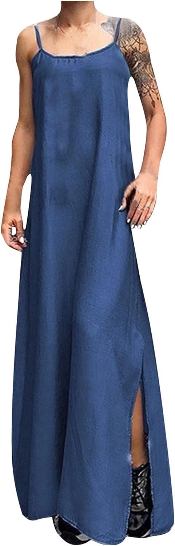 Women's Casual Maxi Denim Dress Spaghetti Straps Spoon Collar Sleeveless Slit Plus Size Loose Long Dress