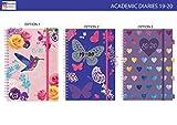 Tagesplaner 2017 2018, A5-Format, eine Seite pro Tag, Spiralbindung, Akademischer Kalender, 5 verschiedene Designs zur Auswahl JMS Butterfly