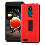 Phone Case for LG K8 2018 with Finger Strap,Soft Silicone Gel Rubber Ultra Thin Anti-Slip Elastic Band Soft TPU Back Phone Cover Protective Holder Shockproof Full Body Protection for LGK8(2018) Red