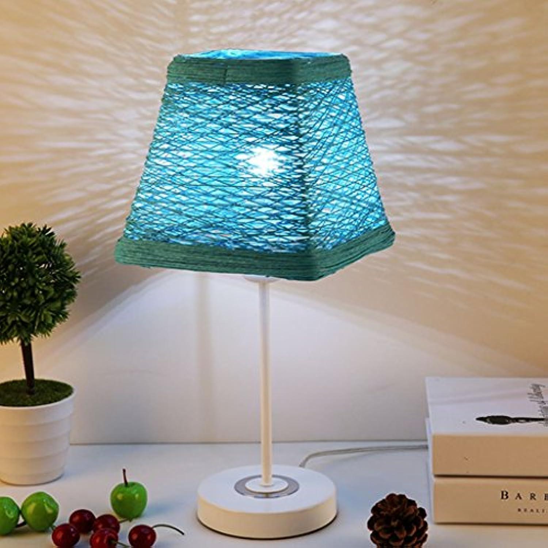 XUANLAN Kreative Gras Rattan-Tischlampe, LED-moderne minimalistische dimmbare Nachttischlampe, dekorative Tischlampe moderne minimalistische Schlafzimmer Studie, 44,5  22cm ( Farbe   Blau )