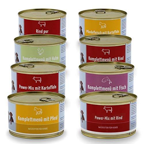 Frostfutter Perleberg Nassfutter ohne Getreide ohne Zucker für mittlere und große Hunde, Dosenfutter 3,04kg (8 Dosen a 380 Gramm) gesundes Futter für mittlere und große Hunde