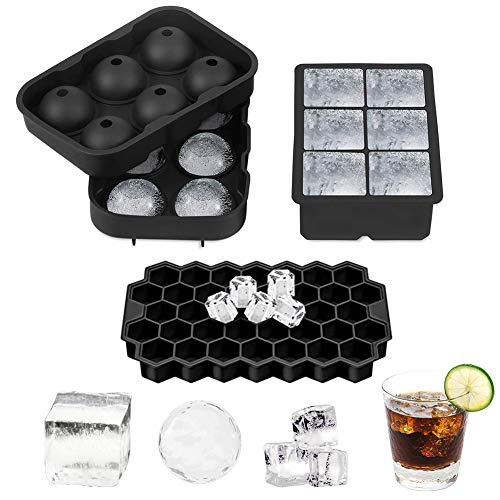 Vegena Eiswürfelform, 3 Stück Silikon Eiswuerfel Eiskugelform Ice Cube Eiswürfelschalen Quadratische Eiswürfelform für Whisky, Cocktails, Saft, Schokolade, Süßigkeiten, 6+6+17 Fach (Schwarz)