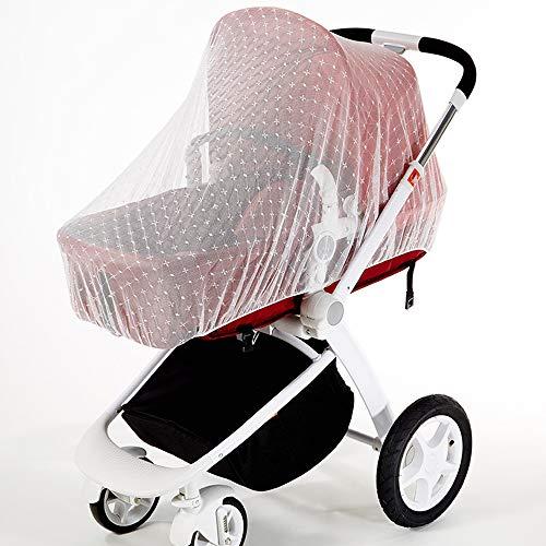 Zanzariera Universale Bianca per Passeggino con Ricamo Antizanzare Bambini Protezione per Carrozzina Zanzare (Diametro: 145 cm)