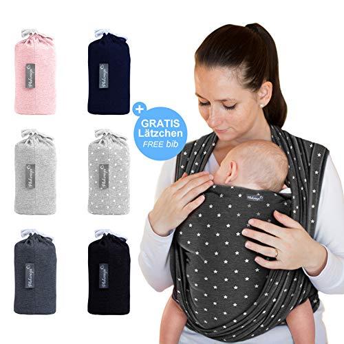 Makimaja - Fascia porta bebè grigio scuro con stelle – tracolla di alta qualità per neonati e bambini fino a 15 kg – cotone leggero – include una bors