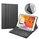 Fintie Tastatur Hülle für iPad 10.2 Zoll 7. Generation 2019, Soft TPU Rückseite Gehäuse mit Pencil Halter, magnetisch Abnehmbarer Bluetooth Tastatur mit QWERTZ Layout, Jeansoptik dunkelgrau