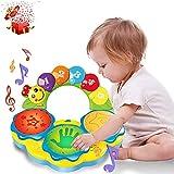 Juguete musical para bebés a partir de 6, 9, 12 y 18 meses, tambor de mano con música, luz, sonidos divertidos, juguete para niños, cumpleaños, Navidad, regalo a partir de 1, 2 o 3 años