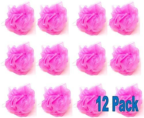 Loofah Lord 12 Pink Bath or Shower Sponge Loofahs Pouf Small Mesh Wholesale Bulk Lot