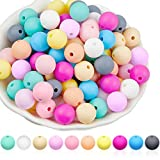100 Pieces Silicone Beads 12 mm Baby Teething Beads Accessory Mix Color Nursing Teether Necklace Accessories DIY Bracelet Chew Jewelry