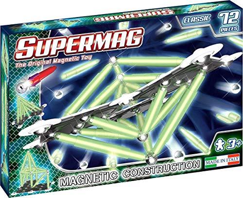 Supermag, Linea Classic Glow, Giocattolo Componibile a Barrette Magnetiche Fluorescenti per Bambini, Luminose al Buio, 72 Pezzi, Età 3+