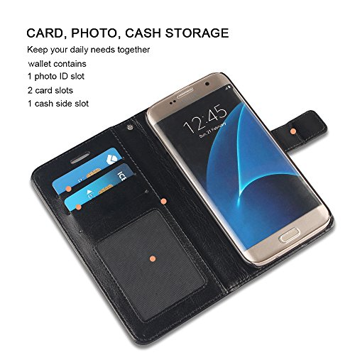 Galaxy S7 Edge Case, AOFU PU Leather Wallet Case W/Stand Flip Stand Feature & ID Card Slots for Samsung Galaxy S7 Edge,Magnetic Closure-Black