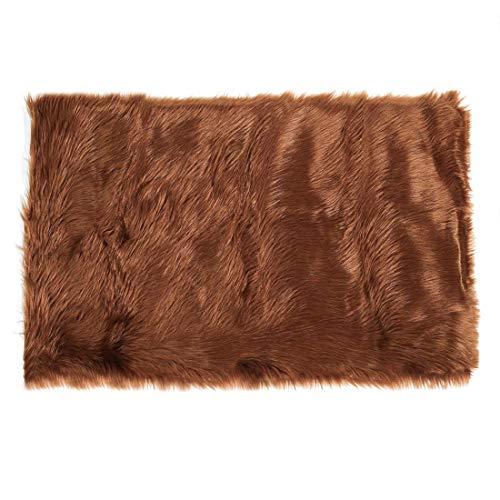 DyniLa Rug Interior epskin - Alfombra para dormitorio, sofá, salón, rectangular, lavable, 2 x 3 patas marrón