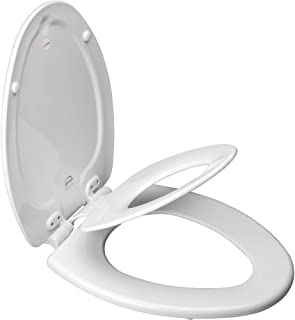 product image for Mayfair 183EC 000 NextStep Child/Adult Toilet Seat with Easy-Clean & Change Hinges, Elongated, White