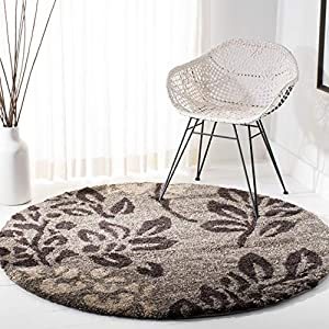 SAFAVIEH Florida Shag Collection SG456 Floral Non-Shedding Living Room Bedroom Dining Room Entryway Plush 1.2-inch Thick Area Rug, 5′ x 5′ Round, Smoke / Dark Brown