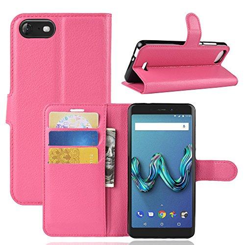 HongMan Handyhülle für Wiko Tommy 3 Hülle, Premium Leder PU Flip Hülle Wallet Lederhülle Klapphülle Magnetisch Silikon Bumper Schutzhülle Tasche mit Kartenfach Geld Slot Ständer, Pink