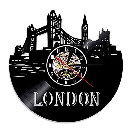 qweqweq Reloj de Pared de Vinilo Retro de la Ciudad de Londres Diseño Moderno Decoración 3D Reloj de Vinilo Reloj de Bolsillo Decoración del hogar