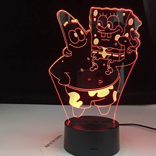 Lámpara de mesa 3D de personaje de dibujos animados de océano multicolor LED acrílico luz nocturna decoración regalo