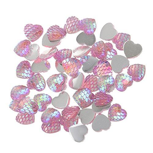 MagiDeal 50pcs 12mm Harz Meerjungfrau Fishscale Glitzersteine Schmucksteine Acrylsteine Strasssteine Bastelsteine zum Aufkleber Klebesteine Kleidung Tasche - Farbe9