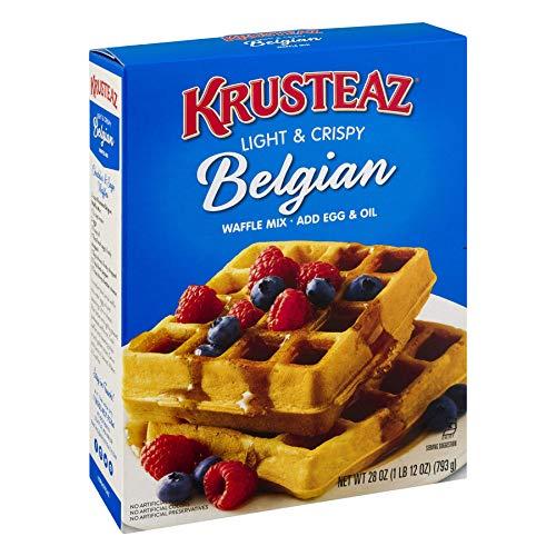 Krusteaz Light & Crispy Belgian Waffle Mix - No Artificial Flavors, Colors, or Preservatives - 28 OZ (Pack of 2), Set of 2