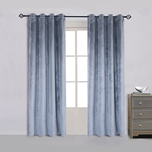 Cherry Home Super Soft Luxury Velvet Stone Blue Blackout Drapes Room Darkening Curtains Panel Grommet Drapery 52 by 96 inch Dusty Blue,2 Panels