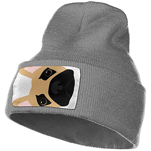 RELAXLAMA Cute Brindle Frenchie Puppy Unisex Thick Warm Stretchy Winter Beanie Knitted Hat Cap for Men&Women