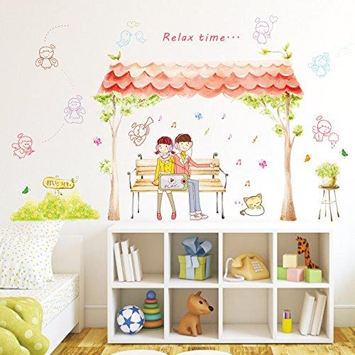 HCCY Romantische Hochzeit Zimmer Hochzeit Karte durch Wall Sticker abnehmbare Schlafzimmer warme romantische Paare Wohnzimmer Wand Poster 100 * 80 cm, cartoon Paare