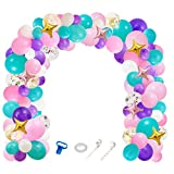 Unicorn Balloons Arch Garland Kit- 112 Pack of 5''10''12'' Light Purple Aqua Blue Pink Gold Confetti Unicorn Theme Balloons Set for for Girls Birthdays Baby Shower Party Supplies