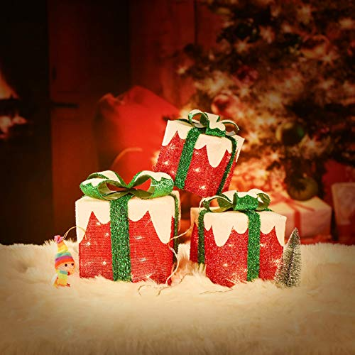 Set of 3 Christmas Lighted Gift Boxes, 60LED Light Up Cover with Snow Gift Boxes Waterproof for Indoor Outdoor Christmas Party Decorations