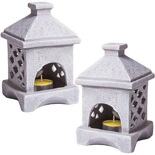2x soporte para vela de té japonés de cerámica diseño de faroles decoraciones de jardín para exteriores gris