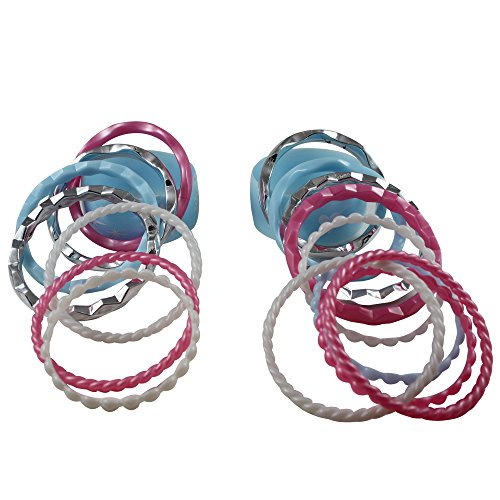 Girls Fashion Accessories Plastic Bracelets Set of 18 Assorted Colors Children's Pretend Play or Birthday Party Favors