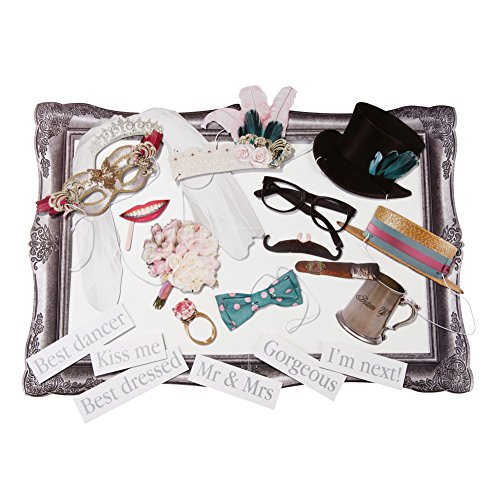 in due Photo Booth Set 'Wedding' - Foto Requisiten/Accessoires für die Hochzeit - 20 teilig
