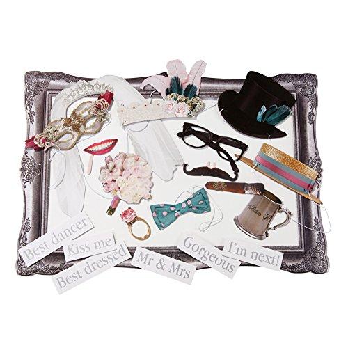 Talking Tables accesorios para una cabina de fotos 'Something In The Air' : gafas, corbatas, anillos, flores y frases divertidas. Para fiestas, bodas y cumpleaños.