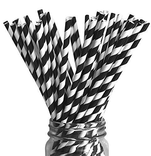 Premium Paper Drinking Straws for Holiday, Anniversary, Birthday, Graduation, Wedding, Bridal & Baby Parties. 100% Biodegradable Vintage, Retro and Fun Paper Straws. Pack of 50. (black swirl)